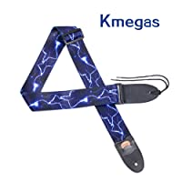 Lightning Pattern Guitar Strap with Leather Ends, Length Adjustable, Suitable for Electric Guitar, Acoustic Guitar and Bass - Unique Gift for Guitarist
