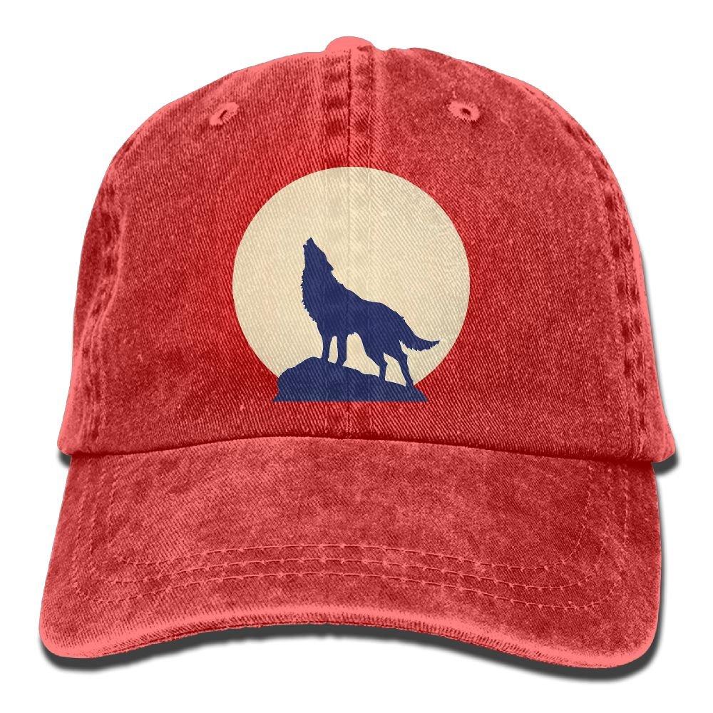 AZNM Unisex Washed Moon Wolf Casual Denim Baseball Cap Adjustable Hunting Hat