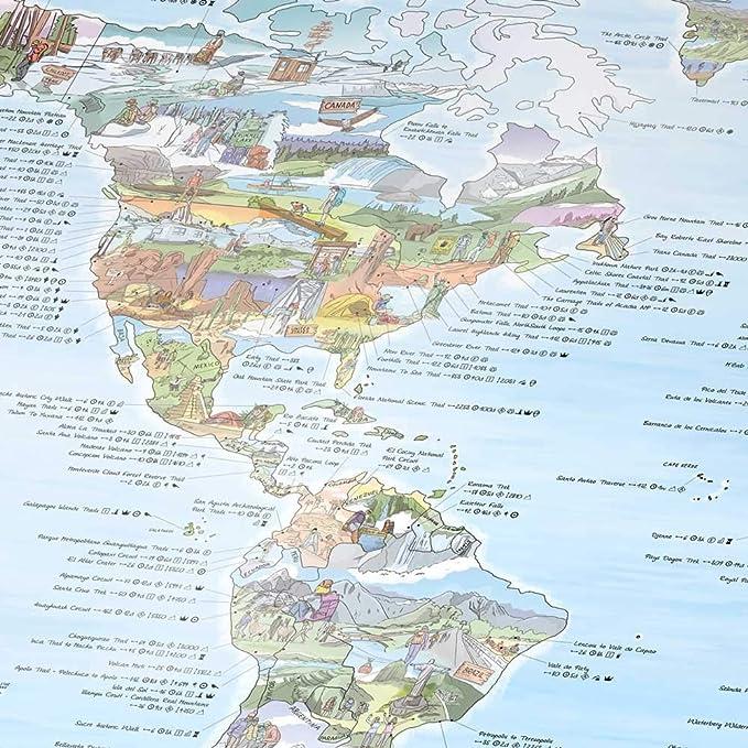 Awesome Maps - Hiking Map - Illustrierte Weltkarte für Wanderer und  Entdecker - Wiederbeschreibbar - 97,5 x 56 cm