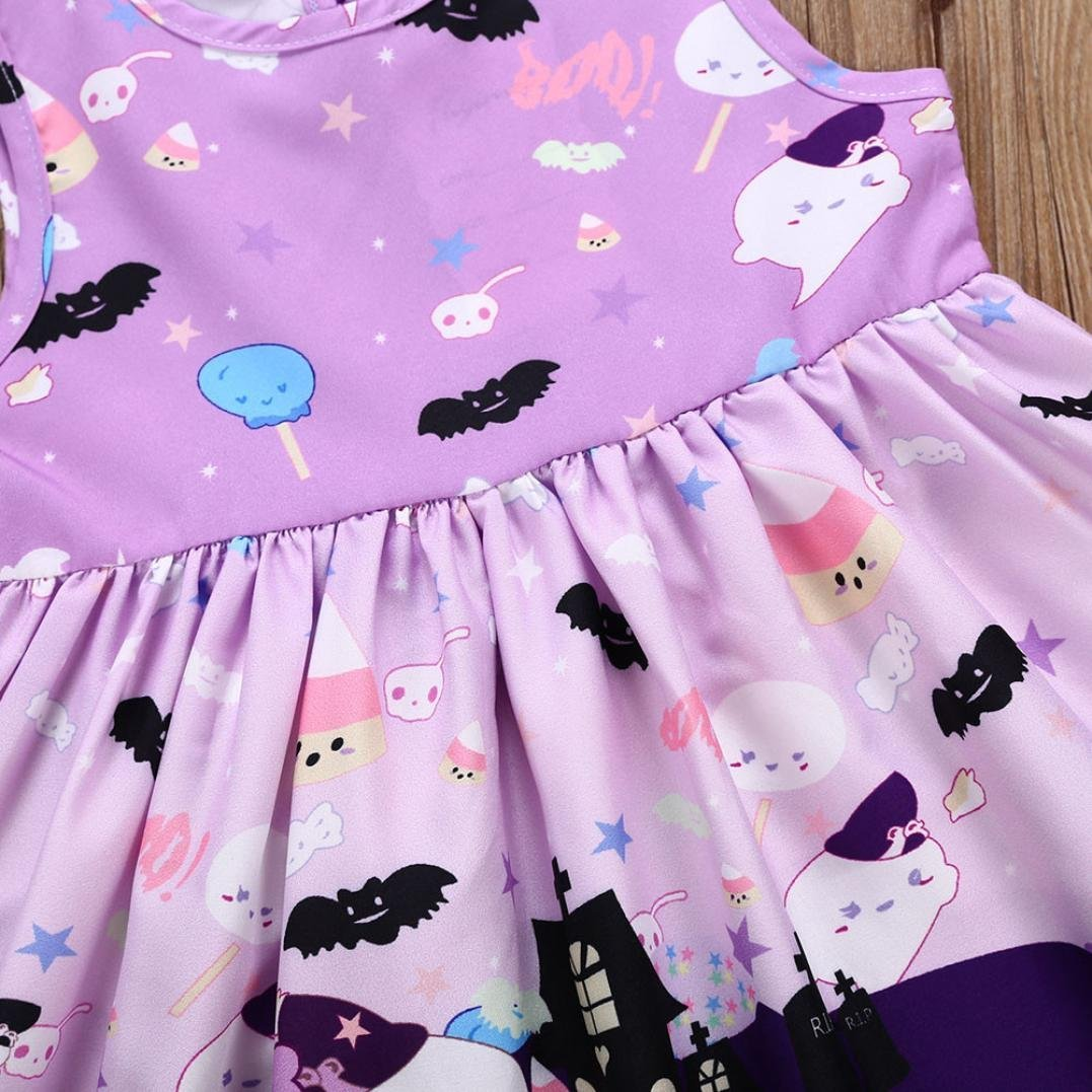 Baby Girls Ghost Print Dresses Halloween Costume Outfits squarex Baby Dress