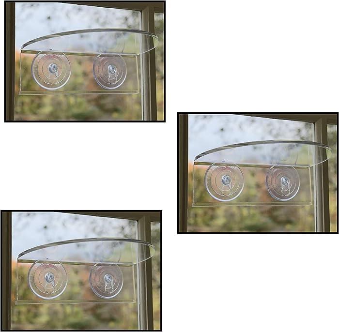 Window Garden Veg Ledge Suction Cup Window Shelf – Create an Indoor Garden, Hold Your Planter Pots, Seed Starter, Figurines on Your Window. Grow Herbs, Microgreens, Succulents, Sleek (3 Pack)