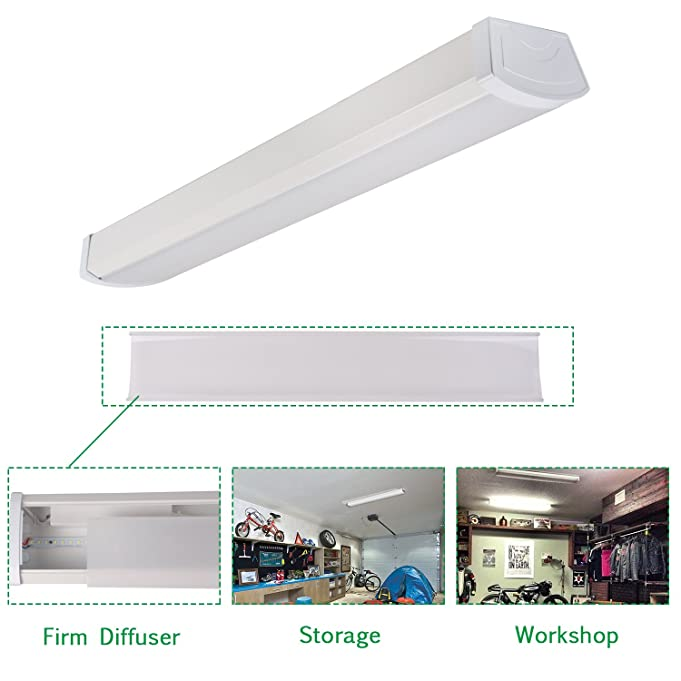 Com Hykolity 2ft 20w Led Garage Light Wraparound Flushmount Commercial Office Ceiling Lamp 1400 Lumens 5000k Daylight White 36w Fluorescent