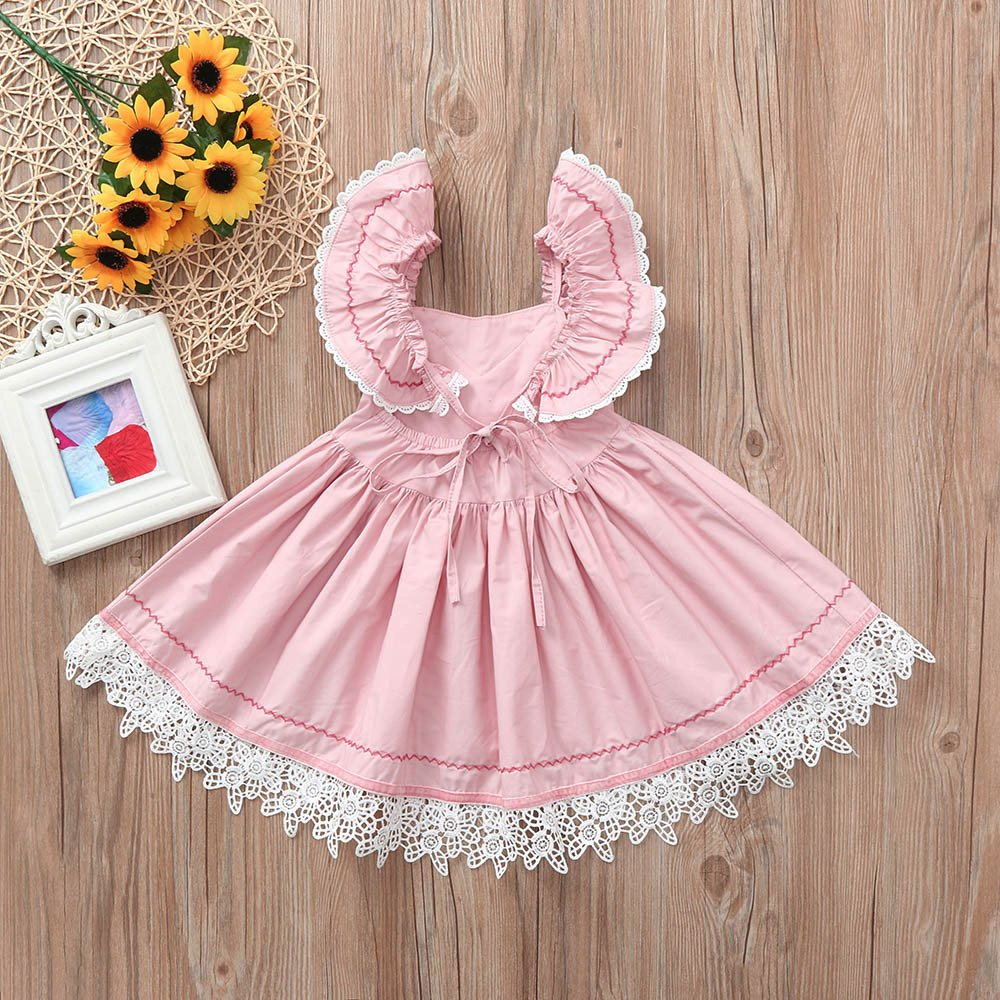 Gufenban Baby Girl Pageant Flower Girl Dress Kids Fancy Wedding Bridesmaid Gown Formal Mini Princess Dresses (Pink, 5 Years) by Gufenban (Image #4)