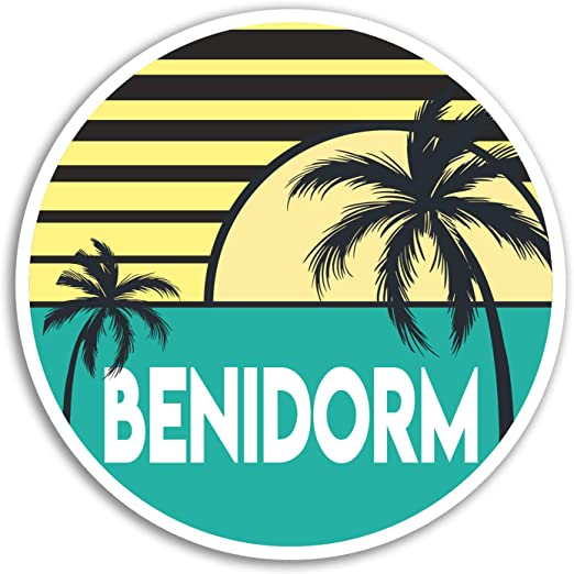 2 x 10cm Benidorm pegatinas de vinilo - España Etiqueta de vacaciones equipaje portátil # 18021 (10 cm de ancho): Amazon.es: Hogar