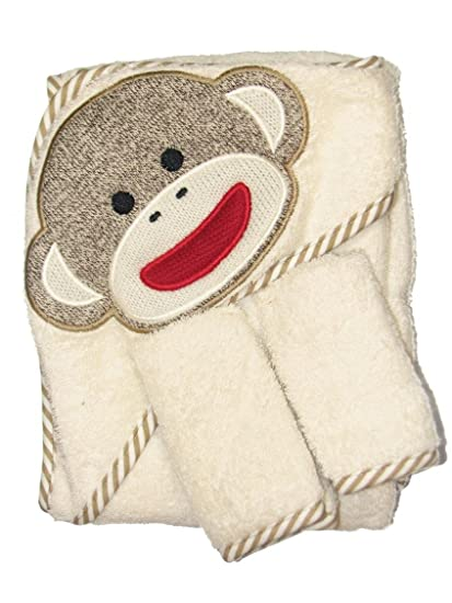 42e9c57a7b Sock Monkey Hooded Towel and 2 Washcloth Set by Baby Starters - Off-White -