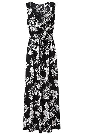 8e024ec12620 Zattcas Womens V Neck Sleeveless Empire Waist Floral Maxi Dress … (Small,  Black White