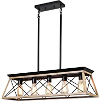 XIPUDA 5-Light Linear Pendant Light Fixture Kitchen Island Lighting Antique Industrial Metal Farmhouse Chandeliers