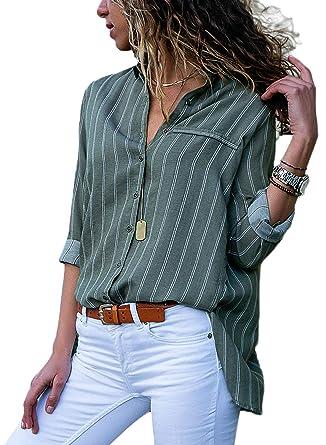 7da51939d2 Dokotoo Womens Shirts Basic Ladies Casual Long Sleeve V Neck Autumn Loose  Button Down Stripes Blouse