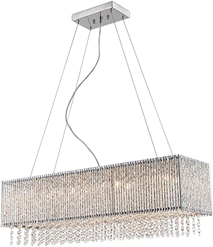 Spiral Collection 8 Light Rectangular Pendant Crystal in Chrome Finish Chandelier