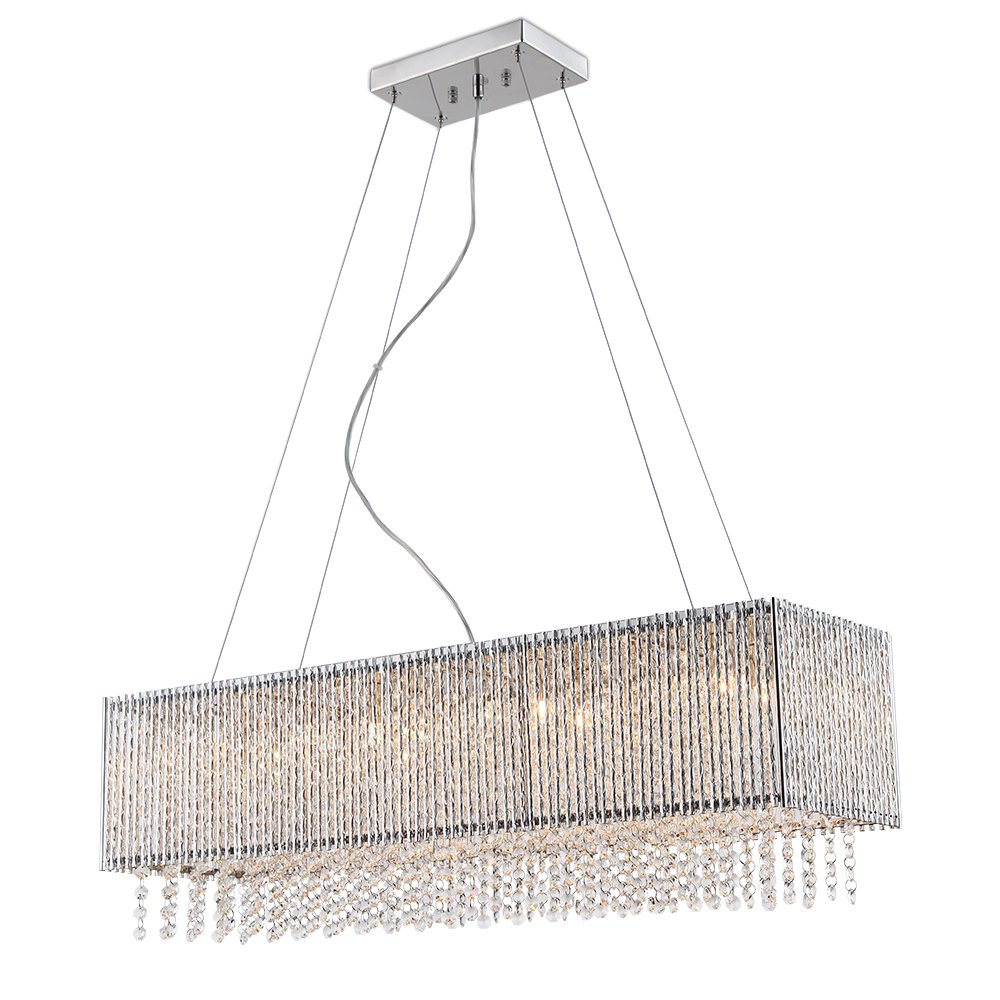 Spiral Collection 8 Light Rectangular Pendant Crystal in Chrome Finish Chandelier Deluxe lamp