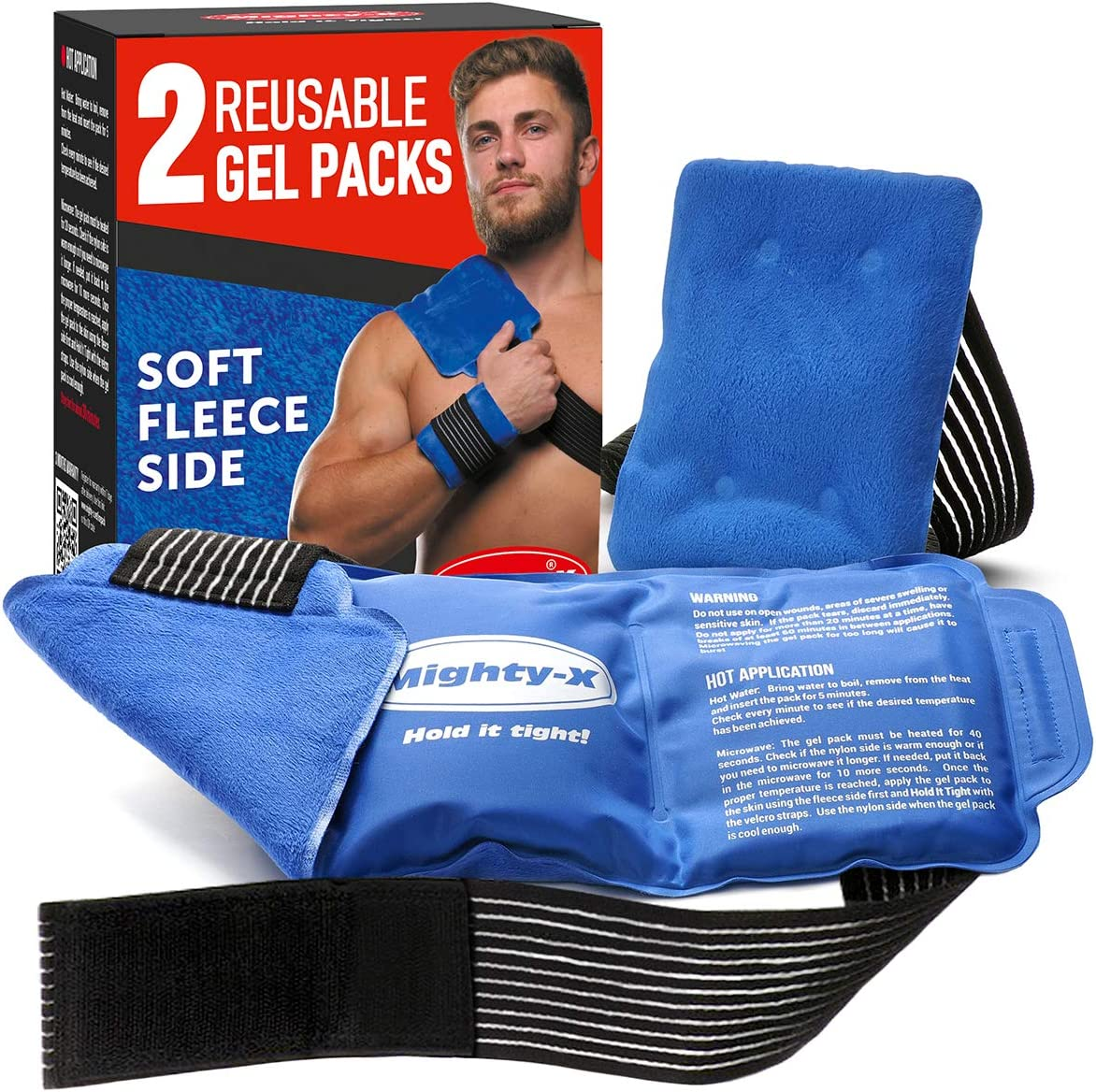 Reusable Ice Packs for Injuries - Premium Cold Packs for Injuries - Soft Fleece Side & Adjustable Straps - 2 Pack (Big - 14 x 6 inches; Small - 6 x 4 inches) - Reusable Ice Pack