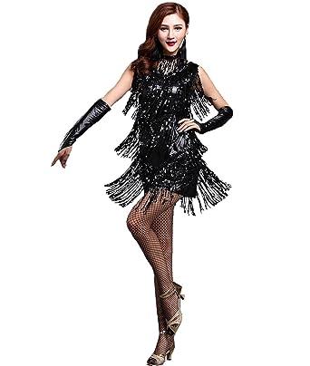0cf6dfb53205 Femirah Women's V Neck 1920s Sequin Fringe Charleston Flapper Dance Dresses  Costumes (0-4