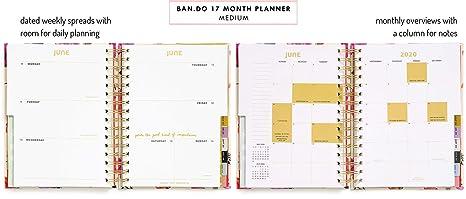 Ban.do Planificador diario medio de 17 meses 2019-2020 con ...