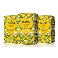 Pukka Turmeric Glow, Organic Herbal Tea with Lemon & Whole Leaf Green Tea (3 Pack, 60 Tea bags)