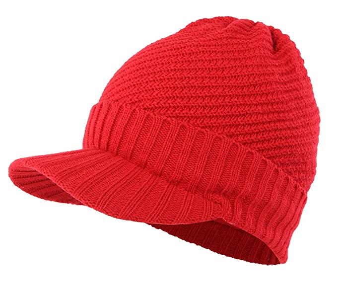 8dd5266e Home Prefer Mens Winter Hat with Cuff Visor Beanie Warm Fleece Knitted Hat  Cap Red at Amazon Men's Clothing store: