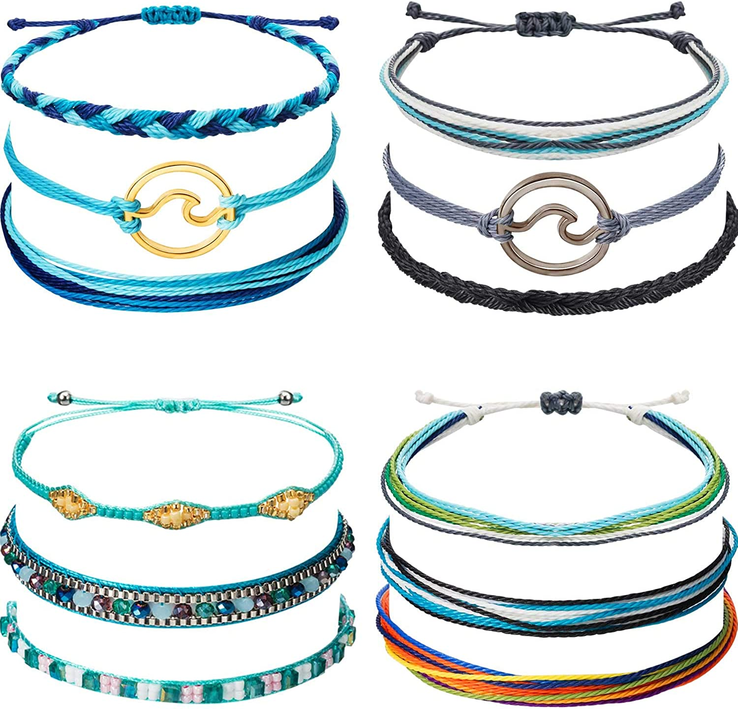 Chuangdi 12 Pieces Wave Strand Bracelet Set Handmade Adjustable Friendship Bracelet Handcrafted Jewelry Women