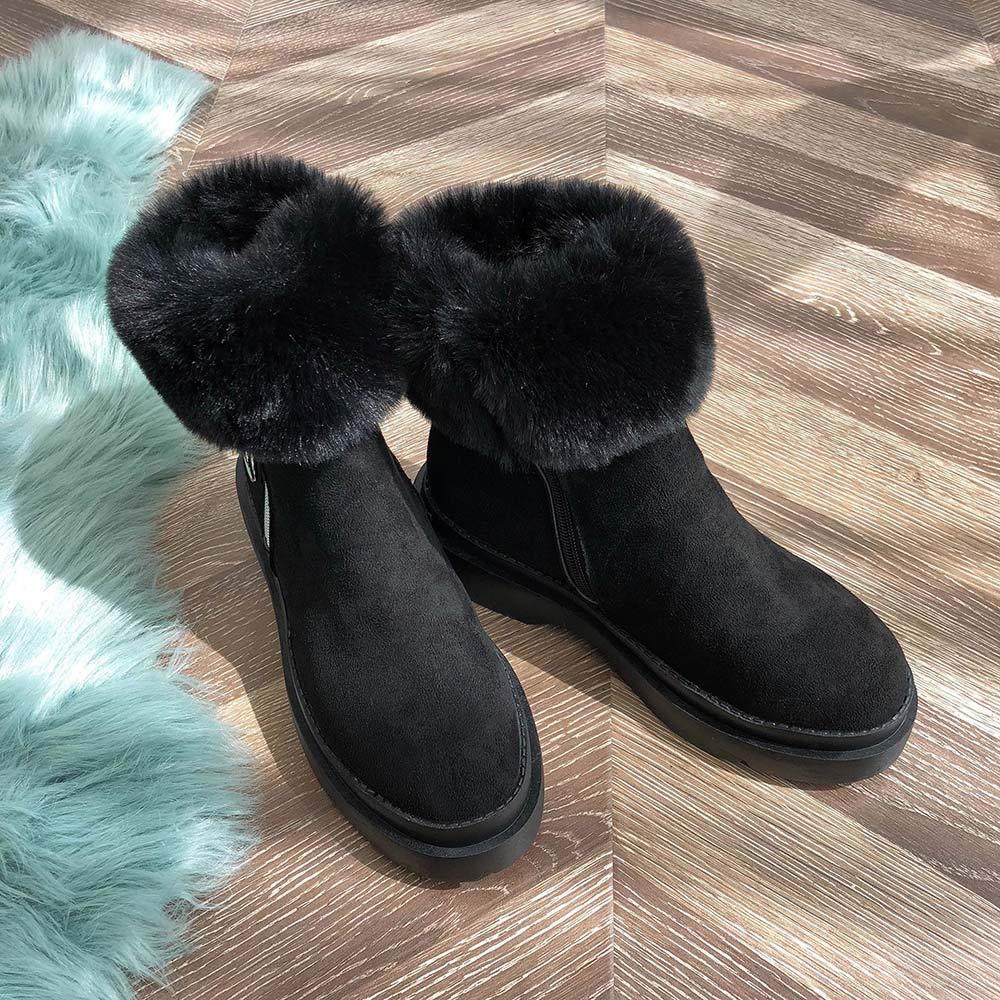 b6917dbea153e Robemon♚Femme Chic Hiver Plat Bottes de Neige Faible Daim Chaud Peluche  Bord Zip Boots