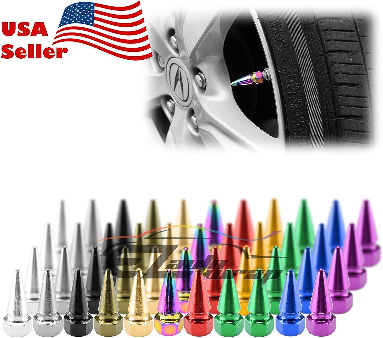 4 Long Spike Valve Stem Caps Metal Thread Kit Set For Rim Wheel Tires Blue