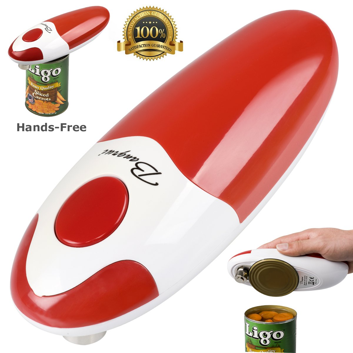 Kitchen Restaurant Mama Manual Automatic Safety Electric Can Opener& Bangrui Professional Electric Can Opener.One-touch switch .Smooth can edge.Being friendly to left-hander and arthritics! (Red) by BangRui
