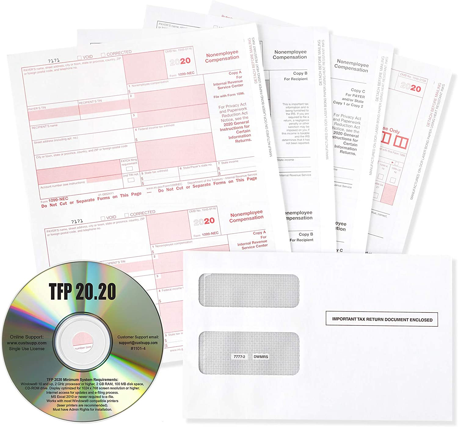 Blue Summit Supplies 1099-NEC 4 Part Tax Form Bundle 2020 with TFP CD-ROM, Includes Self-Seal Envelopes, Designed for QuickBooks and Accounting Software, 50 Pack