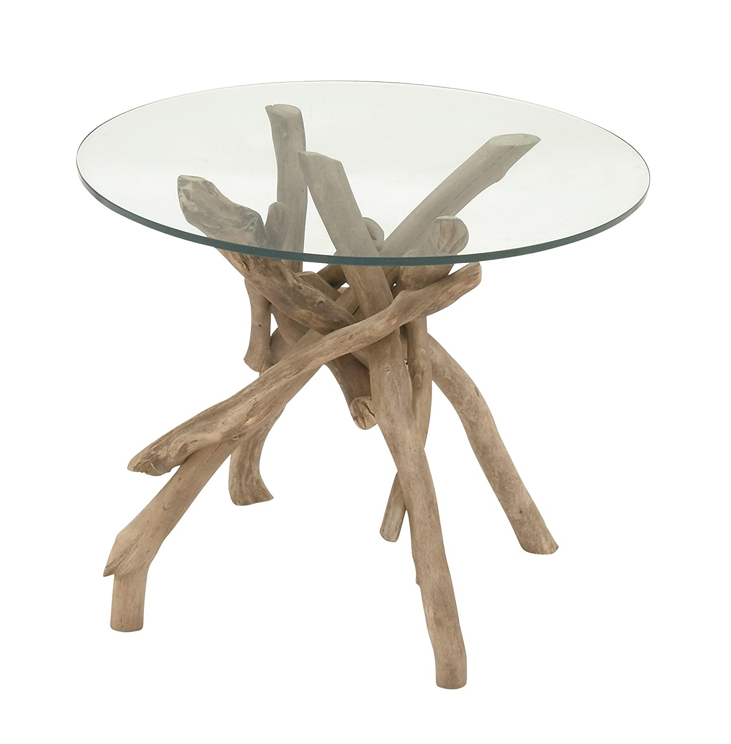 "Amazon Deco 79 Driftwood Glass Accent Table 24"" x 20"