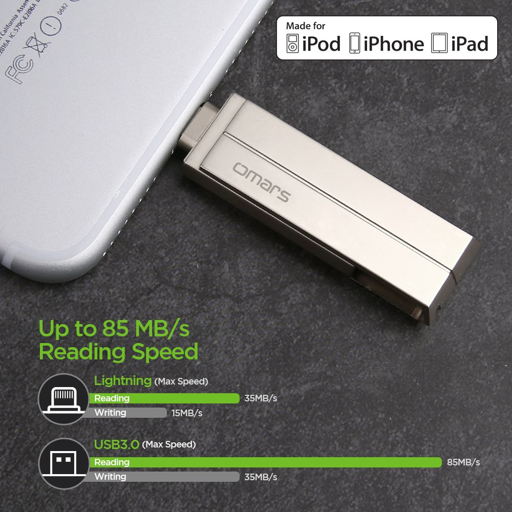 Memoria USB 3.0 Para iPhone iPad Aluminio 64GB Pendrive OMARS [ Certificado MFI de Apple] Flash Drive Memoria Externa Para iPhone 7 Plus, 7, 6s Plus, 6s, 6 Plus, 6, 5, 5s, iPad Pro, iPad Air, iPad Mini, iPad Mini 4/3/2, iPad 3/2, PC Ordenad