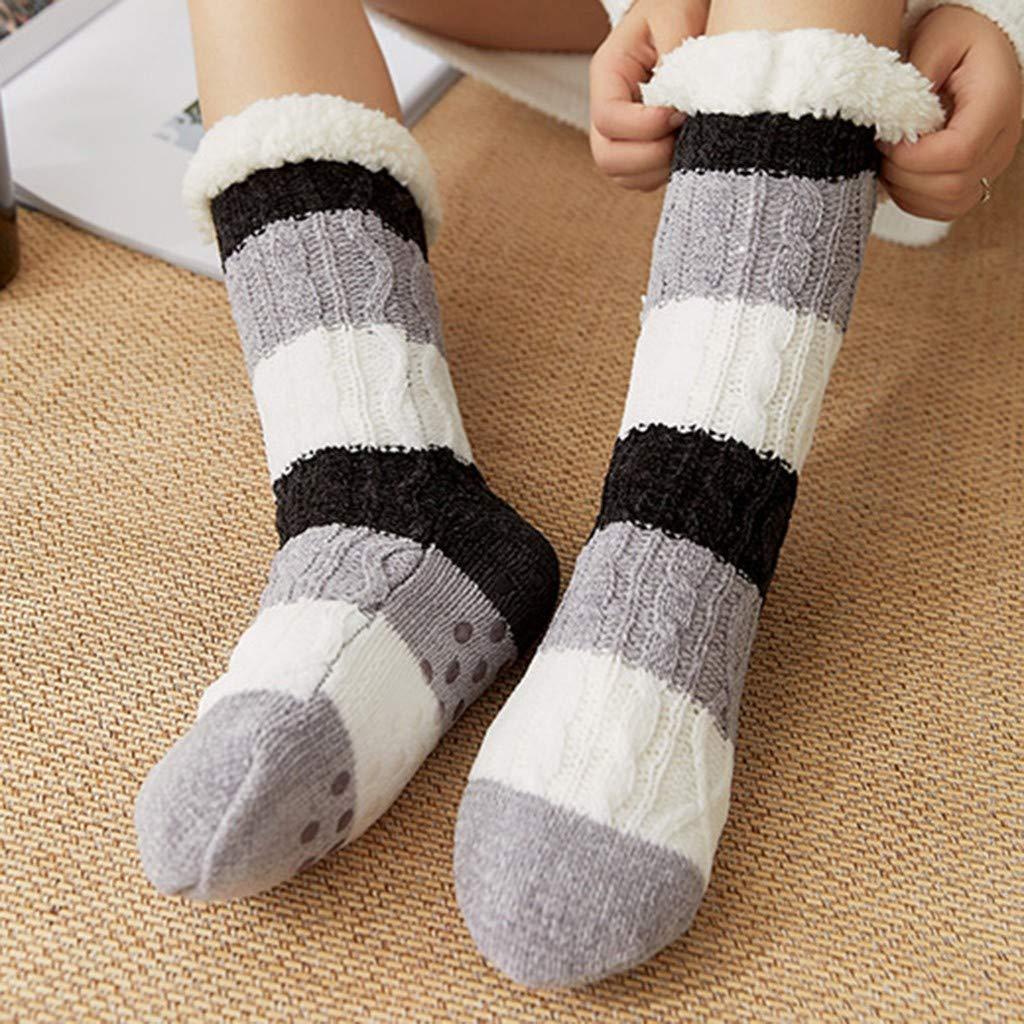 Armfre Bottom Womens Fuzzy Socks Cable Knitted Crew Socks Fleece Lined Slipper Socks Cozy Thick Ski Snow Boot Socks Casual Winter Warm Thermal Long Sock