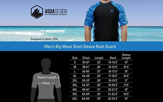 49db7da8d Aqua Design Mens Short Sleeve Rash Guard Shirt: Surf Swim Rashguard Shirts  | Amazon.com