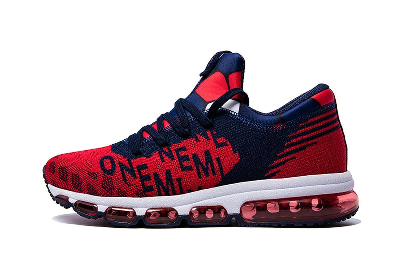 Onemix Air Hombre Zapatos para Correr Transpirable Zapatillas de Running para Mujer Deportivas Calzado Unisex Adult 42 EU|Azul Oscuro / Rojo