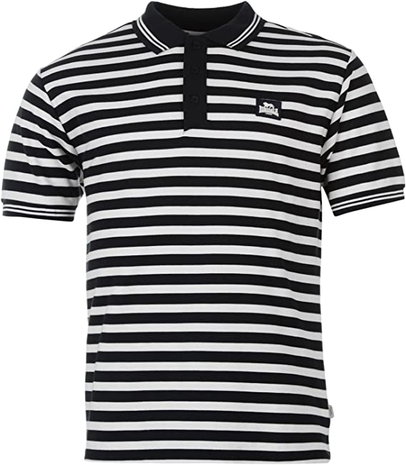 Lonsdale – Yarn Dye Polo de rayas camiseta para hombre azul ...