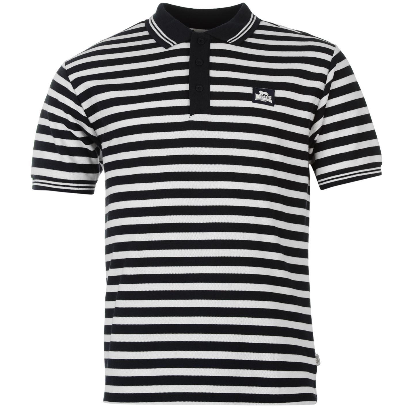Lonsdale – Yarn Dye Polo de rayas camiseta para hombre azul marino ...