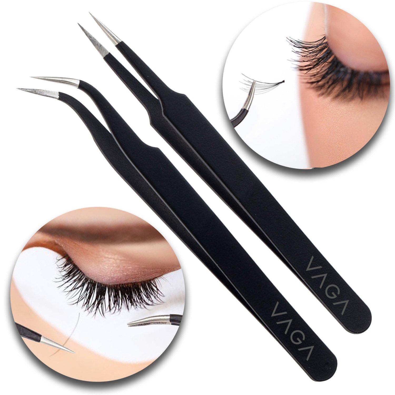Anti Static Black Stainless Steel Tweezers - Set of 2 - For Eyelash Extensions and Ingrown Hair Removal VAGA