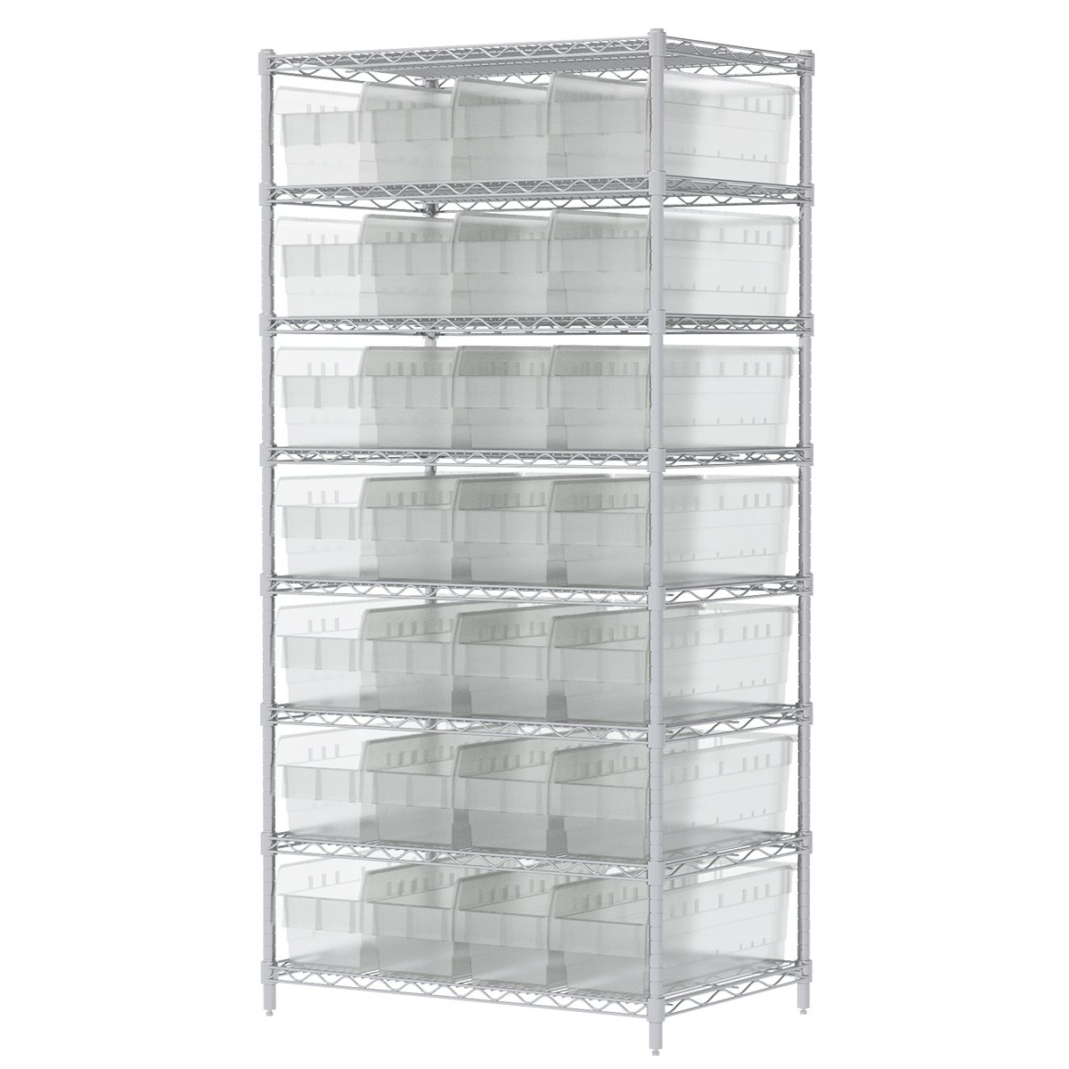 Akro-Mils AWS243630884SC Wire Shelving Kit with 32 Bins, 24'' x 36'' x 74'', Chrome/Clear