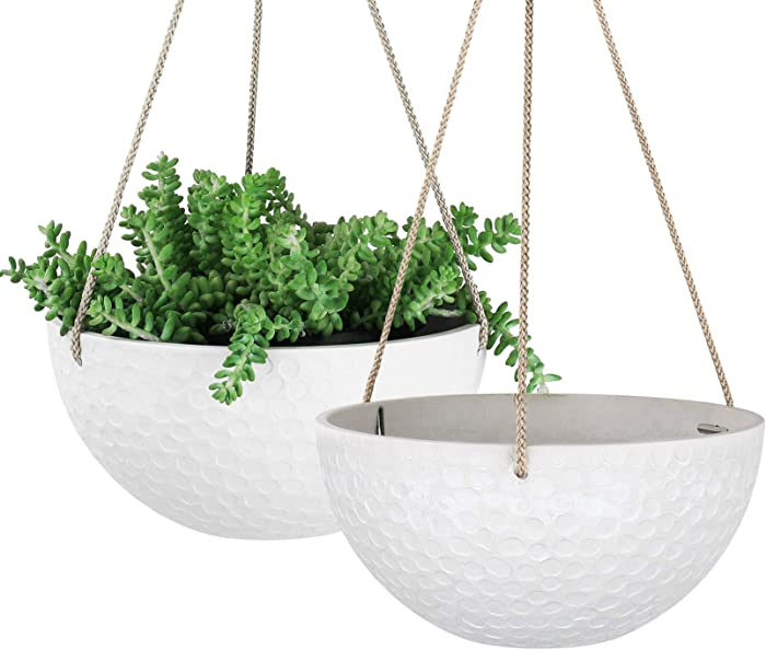 LA JOLIE MUSE 10 Inch Hanging Planters for Indoor Plants, Outdoor Garden Planter Pots, White, Honeycomb, Set of 2