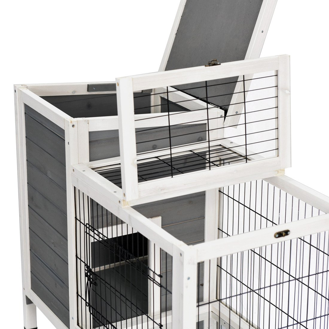 Good Life Wooden Outdoor Bunny Hutch Rabbit Cage Guinea Pig Coop PET House Gray & White Color PET502 by GOOD LIFE USA (Image #4)