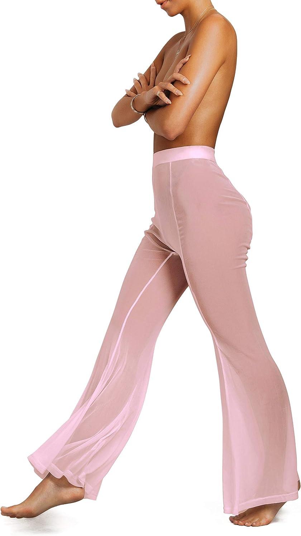 sofsy Pantalones de Playa Cover Up Pantalones Transparentes de Encaje para Mujeres Bikini Traje de baño Bañador Elegante Playa Piscina