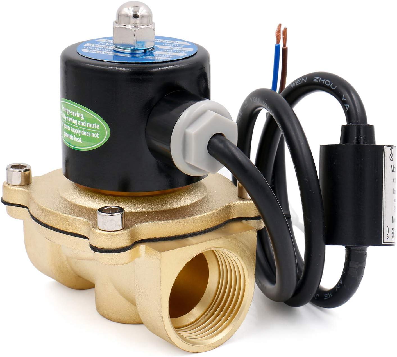 Heschen Válvula de solenoide eléctrica de latón 1 pulgada DC 12V Acción directa Válvula de repuesto de gas atmosférico de agua normalmente cerrada