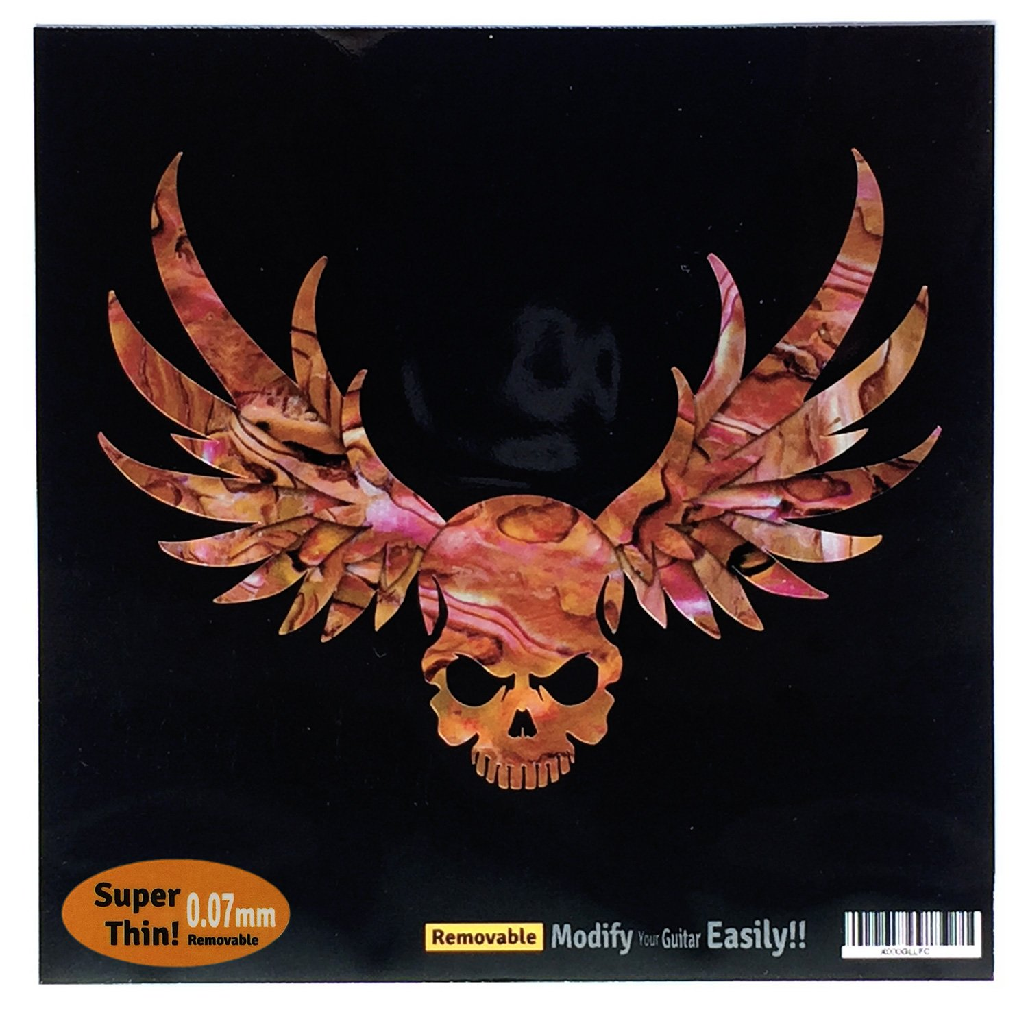 Winged Skull /Abalone Red Inlay Sticker Decal For Guitar & Bass jockomo B-137WS-RD