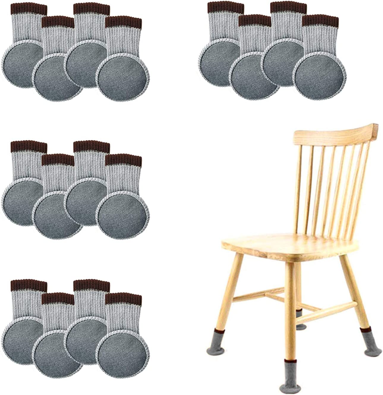 Chair Leg Socks with Felt Pads, AUHOKY High Elastic Knitted Wood Floor Protectors, Non-Slip Thick Furniture Booties Pads Covers Caps Set - Avoid Noise & Scratches(Gray) (16Pcs)