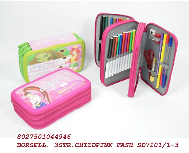 rosa Set scuola asilo astuccio portamatite completo; 3 scomparti con matite righello appunta lapis piccole forbici