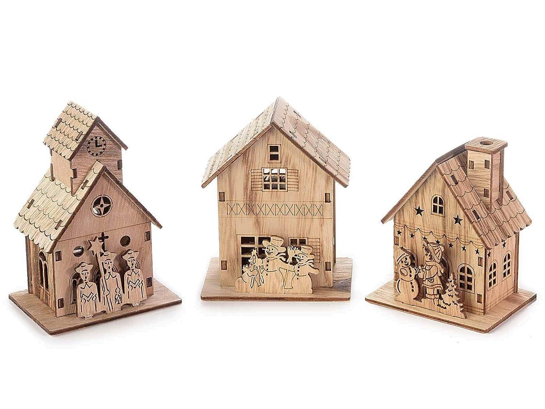 Ideapiu 6 Casetta natalizia in legno lavorato a laser con luce