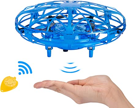 Opinión sobre NEWYANG Mini Drone UFO Juguete para Niños Recargable UFO Drone Movimiento Control A Mano Drones Juguetes Voladores con Luces LED Sensor, Regalos para Niños y Niñas (Azul)