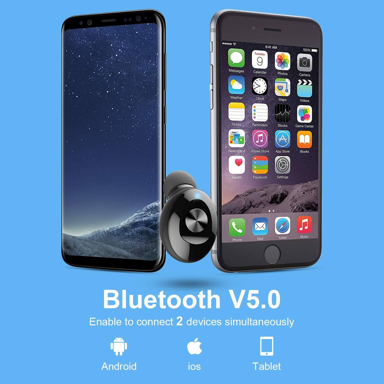iPad Auricolari Wireless Cuffie Bluetooth 5.0 Auricolare Wireless Invisibile Samsung Huawei Nero Hunda Auricolari Bluetooth in Ear con USB Ricarica e Microfono Incorporat per iPhone