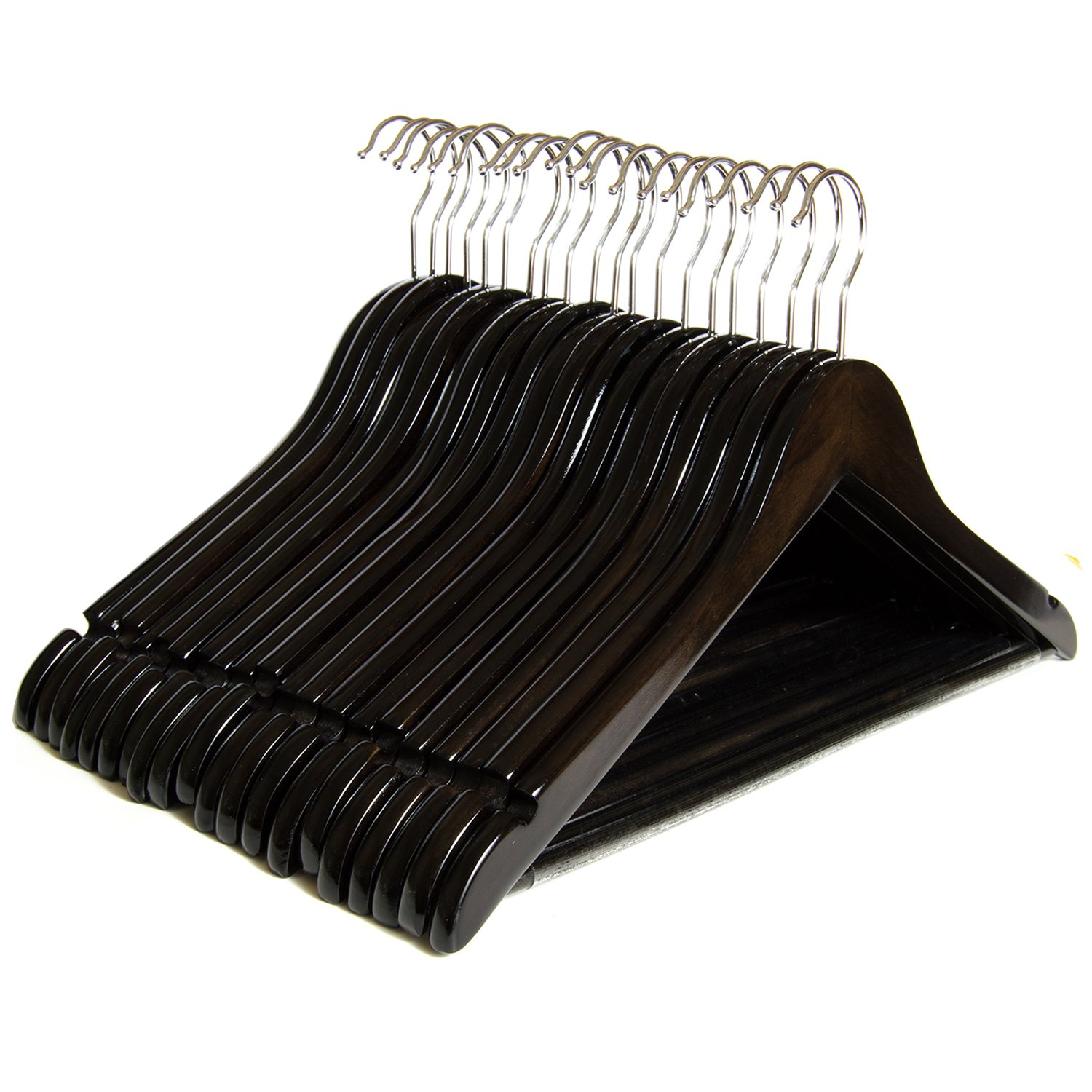 Clutter Mate Wood Clothes Hangers Dark Walnut Wooden Coat Hanger 20-Pack by Clutter Mate (Image #8)
