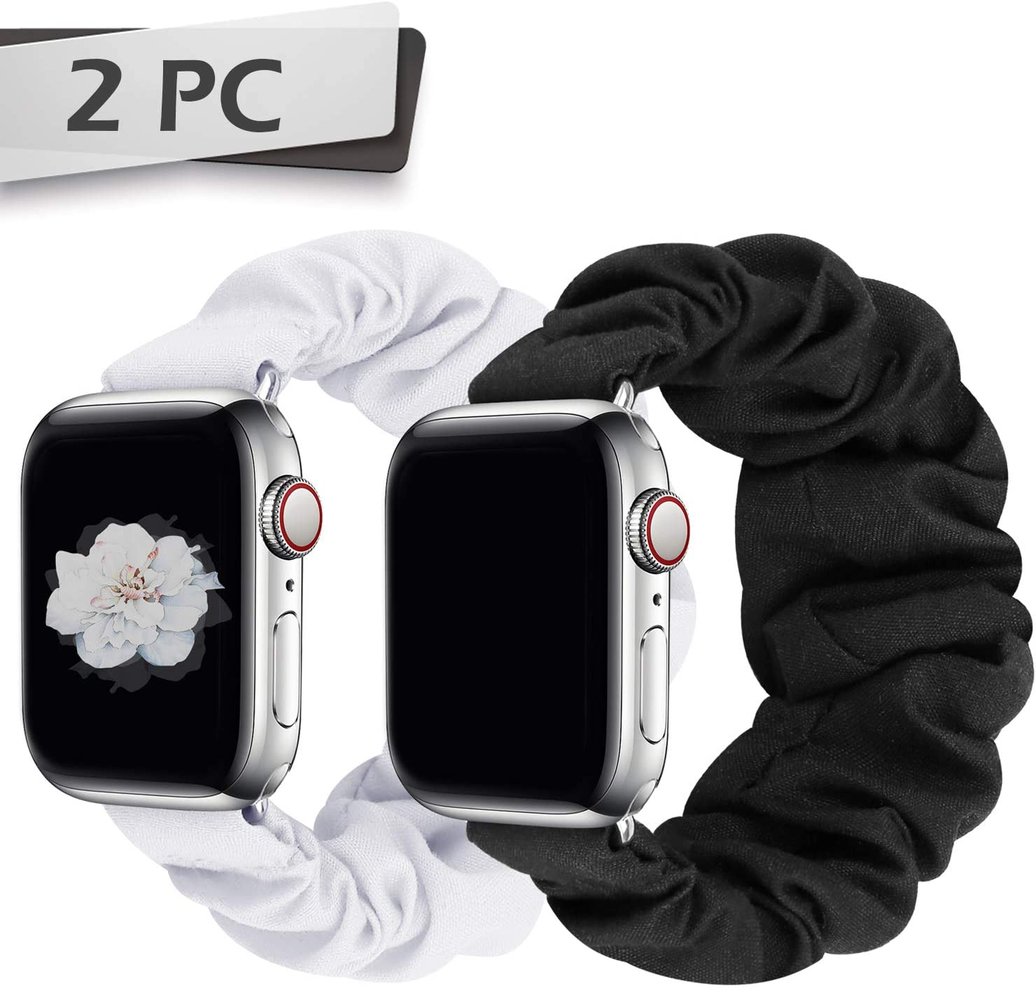 JIELIELE Compatible with Scrunchie Apple Watch Band 38mm 40mm 42mm 44mm, Cute Elastic Wristbands for Women, Stretchy Strap Iwatch Bands for Apple Watch Series SE 6 5 4 3 2 1 (S-38/40 B+W)