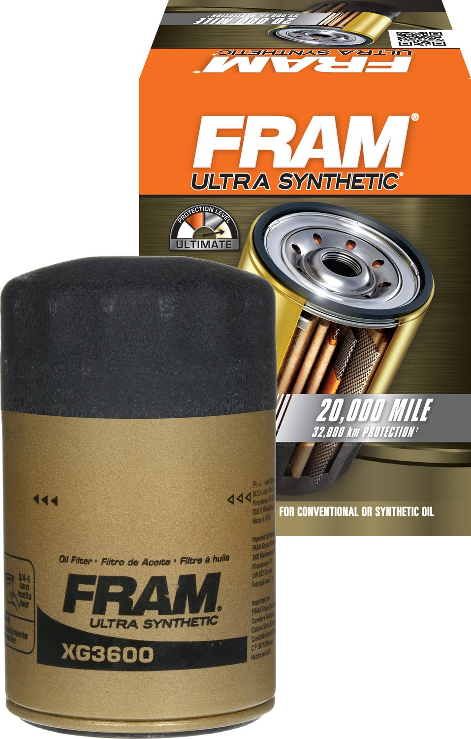 FRAM XG3600 Ultra Synthetic Spin-On Oil Filter with Sure Grip rm-FTA-XG3600