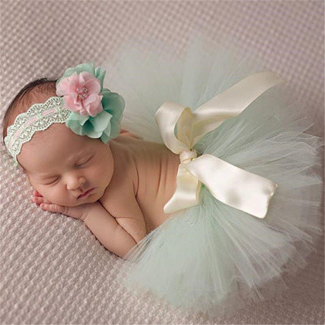 Baby Mädchen Prinzessin Süß Tutu Rock mit Blume Stirnband Foto Requisiten Outfit