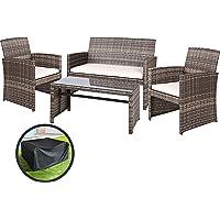 Gardeon Garden Furniture Outdoor Lounge Setting Wicker Sofa Set Storage Cover-Grey