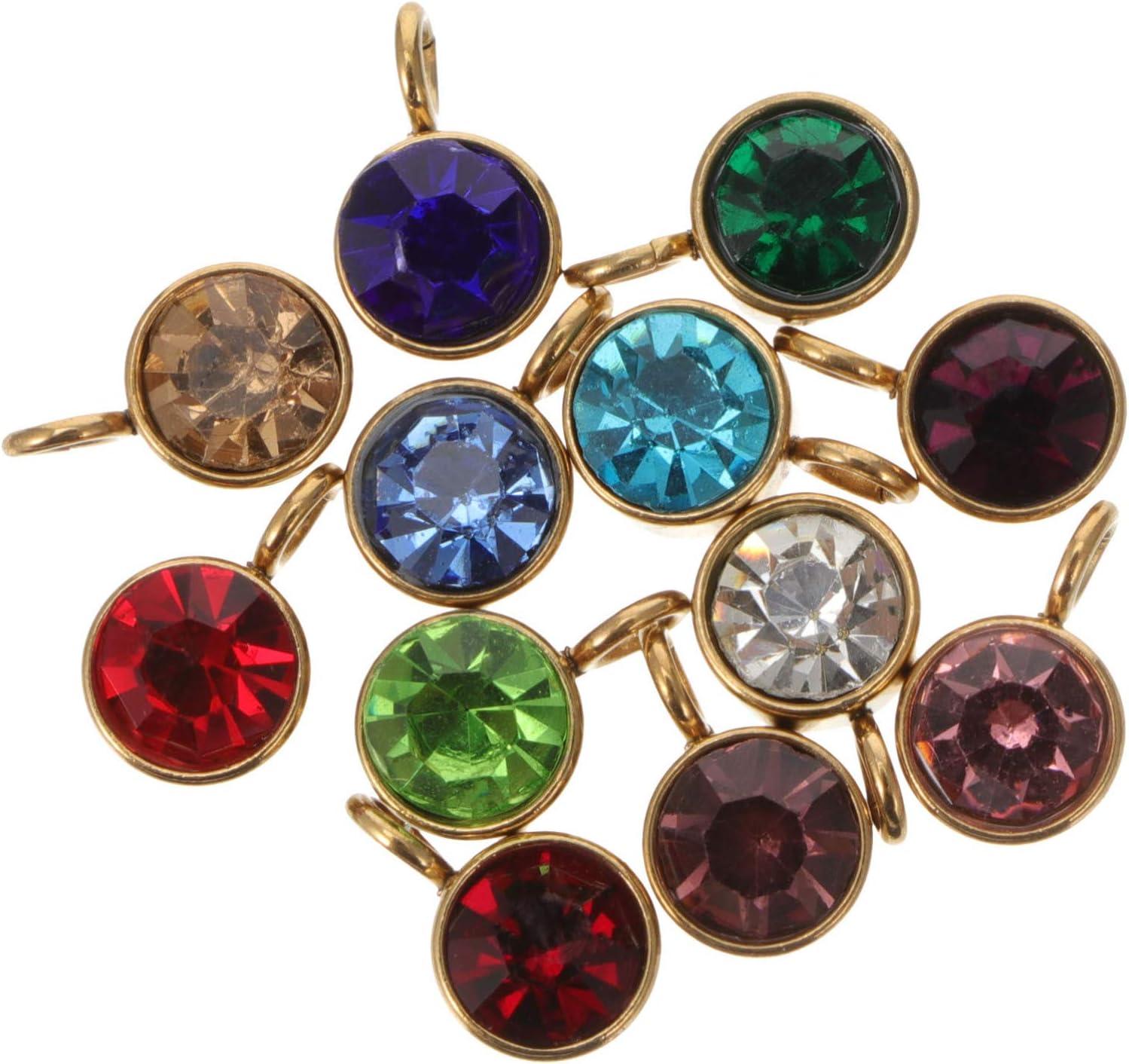 VALICLUD 12Pcs Encantos de Piedra Natal de Cristal 12 Colores Cuentas de Bricolaje Colgantes Espaciadores Encantos Accesorios con Anillos para Hacer Joyas Collar Pulsera Pendientes de Oro