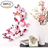 48 PCS Removable 3D Butterfly Wall Stickers Decals DIY Wall art Decor Home Wall Decoration Sticker Mural for Kids Girls Children Bedroom Living Room Background Nursery (Pink)